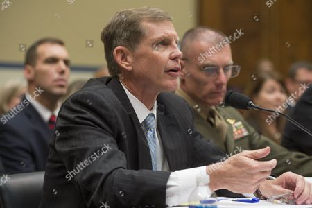 Assistant Defense Secretary For Special Operations/ Low-intensity Conflict Michael Lumpkin (l); and Major General James Lariviere (r) Deputy Director of Political-military Affairs (africa) For the Joint Staff; Appear Before the Us House Oversight and Government Reform Committee Hearing on 'The Ebola Crisis - Coordination of a Multi-agency Response' in Washington Dc Usa 24 October 2014 Ron Klain Ebola Response Coordinator For the Executive Office of the President Declined to Attend the Hearing United States Washington
