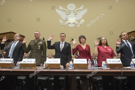 Witnesses Are Sworn-in to Testify Before the Us House Oversight and Government Reform Committee Hearing on 'The Ebola Crisis - Coordination of a Multi-agency Response' in Washington Dc Usa 24 October 2014 Ron Klain Ebola Response Coordinator For the Executive Office of the President Declined to Attend the Hearing in This Picture (l to R); Assistant Defense Secretary For Special Operations/low-intensity Conflict Michael Lumpkin; Major General James Lariviere Deputy Director of Political-military Affairs (africa) For the Joint Staff; Homeland Security Inspector General John Roth; Assistant Secretary For Preparedness and Response at the Us Department of Health and Human Services Nicole Lurie; Deborah Burger Co-president of National Nurses United; and Rabih Torbay Senior Vice President For International Operations at the International Medical Corps United States Washington
