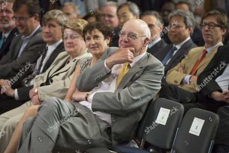 Former Chair of the Us Federal Reserve Paul Volcker (c) Attends the 'Inaugural Michel Camdessus Central Banking Lecture on Financial Stability' at the Imf in Washington Dc Usa 02 July 2014 United States Washington