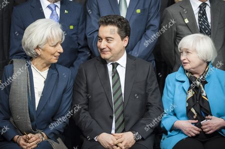 Imf Managing Director Christine Lagarde (l) Deputy Prime Minister of Turkey Ali Babacan (c) and Us Federal Reserve Chairman Janet Yellin (r) Talk As Members of the International Monetary Fund Committee Pose For a Group Photo During the Imf World Bank Spring Meetings at the Imf Headquarters in Washington Dc Usa 18 April 2015 United States Washington