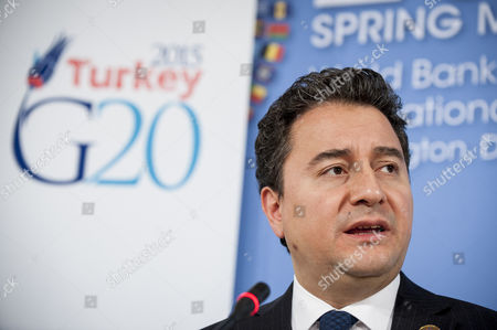 Deputy Prime Minister of Turkey Ali Babacan Speaks to the Media During a G-20 Press Conference at the International Monetary Fund (imf) Headquarters in Washington Dc Usa 17 April 2015 United States Washington