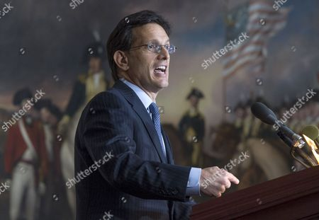 House Majority Leader Republican Eric Cantor Delivers Remarks at a Ceremony where President of Israel Shimon Peres (not Pictured) Received the Congressional Gold Medal at the Us Capitol in Washington Dc Usa 26 June 2014 United States Washington