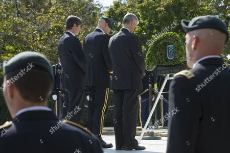 Nephew of Late Us President John F Kennedy William Kennedy Smith (back L); Us Brigadier General Darsie Rogers (back C) and Secretary of the Us Army John Mchugh (back R) Stand Behind Green Berets During a Wreath-laying Ceremony to Honor Jfk's Support of Special Forces Green Berets at Arlington National Cemetery in Arlington Virginia Usa 21 October 2014 Us Army Special Forces Command (airborne) Conducted the Ceremony Using a Wreath in the Shape of a Green Beret Placing It Front of the Eternal Flame at Kennedy's Tomb United States Arlington