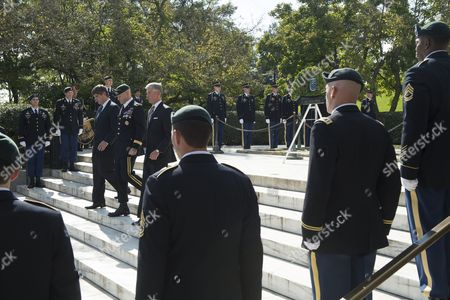 Nephew of Late Us President John F Kennedy William Kennedy Smith (back L); Us Brigadier General Darsie Rogers (back C) and Secretary of the Us Army John Mchugh (back R) Walk Behind Green Berets During a Wreath-laying Ceremony to Honor Jfk's Support of Special Forces Green Berets at Arlington National Cemetery in Arlington Virginia Usa 21 October 2014 Us Army Special Forces Command (airborne) Conducted the Ceremony Using a Wreath in the Shape of a Green Beret Placing It Front of the Eternal Flame at Kennedy's Tomb United States Arlington