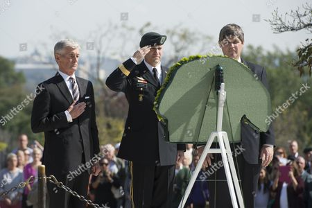 Secretary of the Us Army John Mchugh (l) Us Brigadier General Darsie Rogers (c) and William Kennedy Smith (r) Nephew of Late Us President John F Kennedy Participate in a Wreath-laying Ceremony to Honor Jfk's Support of Special Forces Green Berets at Arlington National Cemetery in Arlington Virginia Usa 21 October 2014 Us Army Special Forces Command (airborne) Conducted the Ceremony Using a Wreath in the Shape of a Green Beret Placing It Front of the Eternal Flame at Kennedy's Tomb United States Arlington