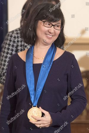 Us Artist Maya Lin a Recipient of the 2014 Medal of Arts Receives the Medal During the Art in Embassies' Medal of Arts Luncheon Ceremony at the State Department in Washington Dc Usa 21 January 2015 Us Secretary of State John Kerry Attended the Award Ceremony United States Washington