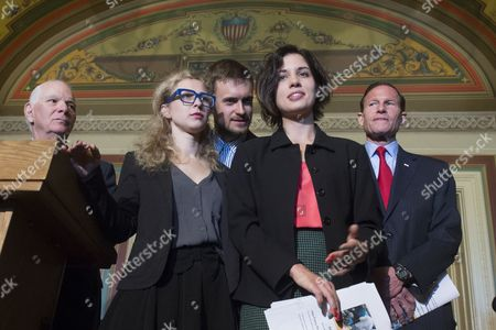Nadya Tolokonnikova (2-r) Delivers Remarks Beside Fellow Member of Pussy Riot Maria Alyokhina (2-l) Nadya's Husband Pyotr Verzilov (c) Democratic Senator From Maryland Ben Cardin (l) and Democratic Senator From Connecticut Richard Blumenthal (r) During a News Conference on Capitol Hill in Washington Dc Usa 06 May 2014 Members of the Russian Protest Group Pussy Riot Met with Us Lawmakers to Discuss the State of Human Rights in Russia United States Washington