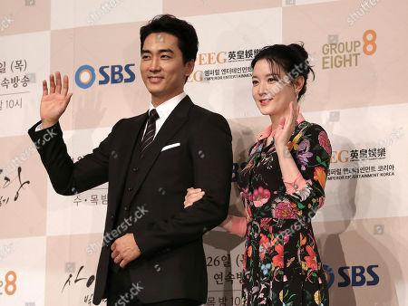 "Lee Young-ae, Song Seung-heon South Korean actress Lee Young-ae and actor Song Seung-heon wave during a premiere of their television drama ""Saimdang, Memoir of Colors,"" in Seoul, South Korea"