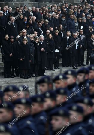 Members of the military and guest attend the military farewell ceremony for late former German President Roman Herzog following the state funeral ceremony in Berlin, Germany, 24 January 2017. Herzog died on 10 January 2017 at the age of 82.