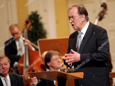 Conductor Nikolaus Harnoncourt Holds a Speech During the Pause of the Concert on the Occasion of the Ceremonial Act That Marks the Beginning of the 'Mozart Year' at the Mozarteum in Salzburg Friday 27 January 2006 Today is the 250th Anniversary of the Birth of Composer Wolfgang Amadeus Mozart on January 27 1756 Austria Salzburg