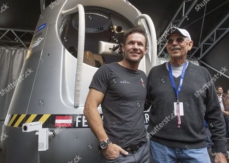 Austrian Skydiver Felix Baumgartner (l) and Life Support Engineer Mike Todd of the Red Bull Stratos Are Pictured During the Airpower Show 2013 in Zeltweg Austria 28 June 2013 the Two-day Airshow Displays About 200 Aircrafts From Over 20 Countries Austria Zeltweg