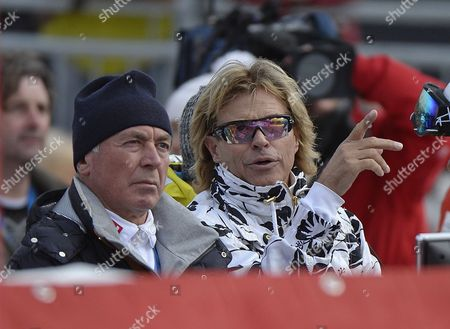 Karl Schranz (left) and Hansi Hinterseer in the Finish Area During the First Training of the Men's Downhill Race at the Fis Alpine Skiing World Cup in Kitzbuehel Austria 23 January 2014 Austria Kitzbuehel