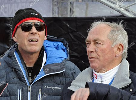 Former Austrian Ski Champions Harti Weirather (l) and Karl Schranz (r) Watch the Men's Downhill Race of the Fis Alpine Skiing World Cup in Kitzbuehel Austria 25 January 2014 Austria Kitzbuehel