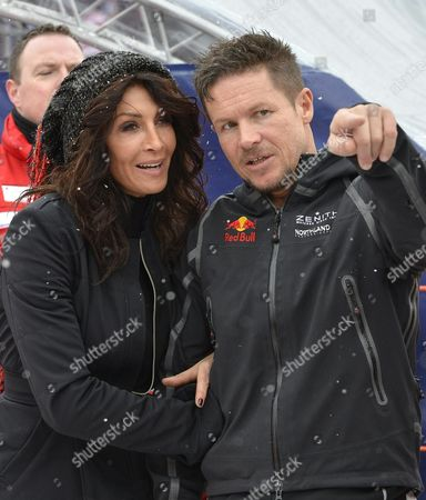 Romanian Socialite Mihaela Radulescu and Austrian Skydiver and Basejumper Felix Baumgartner During the Mens Downhill Race at the Fis Alpine Skiing World Cup in Kitzbuehel Austria 24 January 2015 Austria Kitzbuehel