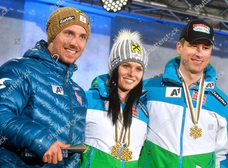 Austria's (l-r) Marcel Hirscher Anna Fenninger and Hannes Reichelt Attend the 'Ski Austria Medal Party' in Vienna Austria 24 March 2015 Hirscher and Fenninger Won the Alpine Skiing World Cup Overall Titles Austria Vienna