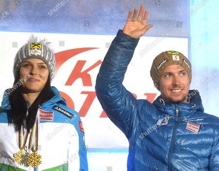 Austria's Anna Fenninger (l) and Marcel Hirscher (r) Attend the 'Ski Austria Medal Party' in Vienna Austria 24 March 2015 Hirscher and Fenninger Won the Alpine Skiing World Cup Overall Titles Austria Vienna