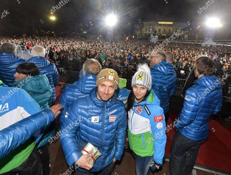 Austria's Marcel Hirscher (l) and Anna Fenninger (r) Attend the 'Ski Austria Medal Party' in Vienna Austria 24 March 2015 Hirscher and Fenninger Won the Alpine Skiing World Cup Overall Titles Austria Vienna