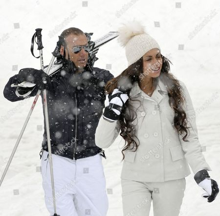 Stock Photo of Moroccan Karima El-marough Aka Ruby Rubacuore Her Fiance Luca Risso in the Ski Resort of Idalp in Ischgl Tirol Austria on 29 April 2011 According to Reports in Austrian Media on 29 April El-marough Came to Austria For a Day of Skiing and Partying Organised by Austrian Celebrity Hotelier Guenther Aloys Austria Ischgl