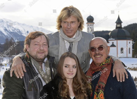 The Image Made Available on 14 January 2014 Shows (l-r) Austrian Actor and Screenwriter Max Krueckl His Daughter Matilda Krueckl Austrian Musician Actor and Former Alpine Skier Hansi Hinterseer (top) and Director Otto Retzer During the Presentation of Their New Film 'Ruf Der Pferde' (lit: Call of the Horses) in Seefeld Austria 13 January 2014 Hansi Hinterseer Will Turn 60 on 02 February Austria Seefeld