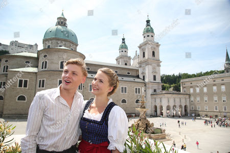 British Atress Eliza Bennett (r) and Austrian Actor Johannes Nussbaum Pose at a Photocall During the Shooting of the Film 'The Trapp Family - a Life of Music' in Salzburg Austria 01 June 2015 the Movie Tells the Story of the Trapp Family Which Got Famous by the Musical 'The Sound of Music' From 1959 That was Based on the Memoir of Maria Von Trapp Austria Salzburg