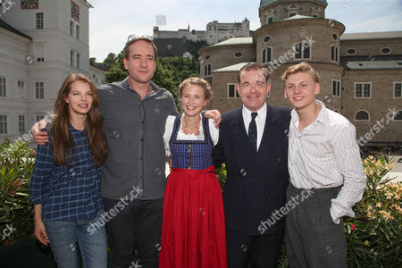 (l-r) German Actress and Singer Yvonne Catterfeld British Actors Matthew Macfayden and Eliza Bennett Austrian Actors Cornelius Obonya and Johannes Nussbaum Pose at a Photocall During the Shooting of the Film 'The Trapp Family - a Life of Music' in Salzburg Austria 01 June 2015 the Movie Tells the Story of the Trapp Family Which Got Famous by the Musical 'The Sound of Music' From 1959 That was Based on the Memoir of Maria Von Trapp Austria Salzburg