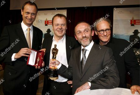 (l-r) Vienna's City Councillor in Charge of Cultural Affairs Andreas Mailath-pokorny Austrian Director and Academy Award Winner Stefan Ruzowitzky Austrian Actor Karl Markovics and Actor August Zirner Pose For Photographers During the 'Gala Zu Ehren Des Oscar-preistraegers Stefan Ruzowitzky' (literally: 'Gala in Honour of Oscar Awardee Stefan Ruzowitzky') at the Townhall in Vienna Austria 05 March 2008 Ruzowitzky Won the Academy Award For Best Foreign Language Film During the 80th Annual Academy For His Movie 'The Counterfeiters ' Austria Vienna