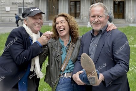 Stock Image of Austrian Actors Adele Neuhauser (c) and Harald Krassnitzer (r) Pose with Austrian Director Robert Dornhelm (l) at a Photocall During the Shooting of the Tatort Crime Series Episode 'Nullsummenspiel' in Vienna Austria 13 May 2014 Austria Vienna