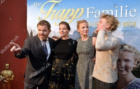 Stock Photo of (l-r) Actors/cast Members Cornelius Obonya Yvonne Catterfield Eliza Bennet and Johannes Nussbaum Arrive For the Premiere of 'The Trapp Family: a Life of Music' in Salzburg Austria 03 November 2015 the Movie Will Be Released in German Theaters on 12 November Austria Salzburg