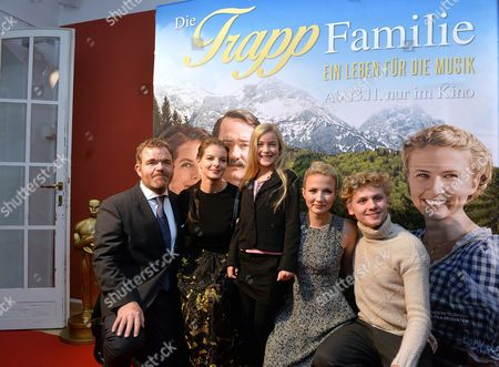 (l-r) Actors/cast Members Cornelius Obonya Yvonne Catterfield Lisa-maria Eliza Bennet and Johannes Nussbaum Arrive For the Premiere of 'The Trapp Family: a Life of Music' in Salzburg Austria 03 November 2015 the Movie Will Be Released in German Theaters on 12 November Austria Salzburg