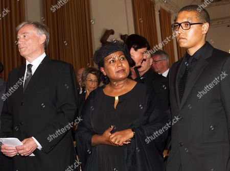 (l-r) Former German President Horst Koehler Almaz Boehm and Her Son Nikolas Attend the Funeral Service of Late Austrian Actor Karlheinz Boehm in Salzburg Austria 13 June 2014 the Founder of the Charity Organisation 'Menschen Fuer Menschen' (lit People For People) Karlheinz Boehm Died Aged 86 in Groedig Near Salzburg on 29 May Austria Salzburg