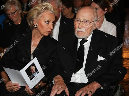 Baron Wolf Egon of Schilgen (r) and His Wife Eva Maria (l) Attend the Funeral Service of Late Austrian Actor Karlheinz Boehm in Salzburg Austria 13 June 2014 the Founder of the Charity Organisation 'Menschen Fuer Menschen' (lit People For People) Karlheinz Boehm Died Aged 86 in Groedig Near Salzburg on 29 May Austria Salzburg