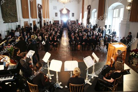 General View of the Funeral Service of Late Austrian Actor Karlheinz Boehm in Salzburg Austria 13 June 2014 the Founder of the Charity Organisation 'Menschen Fuer Menschen' (lit People For People) Karlheinz Boehm Died Aged 86 in Groedig Near Salzburg on 29 May Austria Salzburg