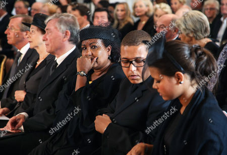 (l-r) Salzburg's Governor Wilfried Haslauer Eva Maria Koehler and Husband Former German President Horst Koehler Almaz Boehm and Her Children Nikolas and Aida Attend the Funeral Service of Late Austrian Actor Karlheinz Boehm in Salzburg Austria 13 June 2014 the Founder of the Charity Organisation 'Menschen Fuer Menschen' (lit People For People) Karlheinz Boehm Died Aged 86 in Groedig Near Salzburg on 29 May Austria Salzburg