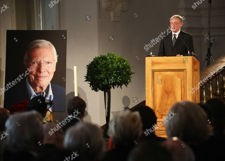 Former German President Horst Koehler Delivers a Speech As He Attends the Funeral Service of Late Austrian Actor Karlheinz Boehm in Salzburg Austria 13 June 2014 the Founder of the Charity Organisation 'Menschen Fuer Menschen' (lit People For People) Karlheinz Boehm Died Aged 86 in Groedig Near Salzburg on 29 May Austria Salzburg