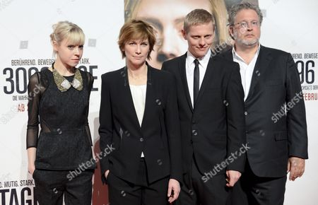 Irish Actress Antonia Campbell-hughes (l) Us Director Sherry Hormann (2-l) Danish Actor Thure Lindhardt (2-r) and German Producer Martin Moszkowicz (r) Pose on the Red Carpet Prior to the Premiere of the Movie '3096 Days' at the Cineplexx Cinema Wienerberg in Vienna Austria 25 February 2013 the Movie Tells the Story of Austrian Natascha Kampusch who was Kidnapped at the Age of 10 and Held in a Cellar For Over Eight Years Austria Vienna