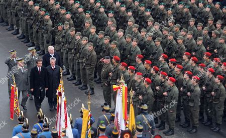 Stock Photo of (l-r Fron) Austrian Chief of Defence Staff Edmund Entacher Defence Minister Norbert Darabos and Austrian President Heinz Fischer; Followed by Vienna's Mayor Michael H?upl Inspect New Army Recruits During National Day in Vienna Austria 26 October 2009 Austria Vienna