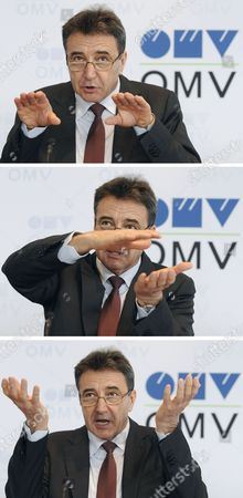 A Composite Photograoh Shows Three Pictures of Ceo of International Oil and Gas Company Omv Gerhard Roiss Speaks to Media During a Press Conference on the Company's 2011 Results in Vienna Austria on 22 February 2012 Austria Vienna