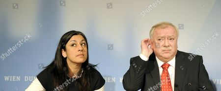 Stock Picture of Vienna's Green Party Leader Maria Vassilakou and Mayor of Vienna Michael H?upl From the Social Democratic Party on 12 November 2010 During a Press Conference where They Announced a Red-green Coalition Pact For the Muncipial Government in Vienna Austria Austria Vienna