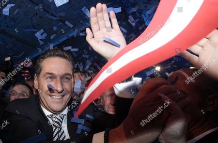 Freedom Party's (fpo) Leading Candidate Heinz Christian Strache Celebrates in the Party Tent After the Regional Elections in Vienna Austria on 10 October 2010 Media Reports State That Projections Suggest That the City's Current Leader Michael Haeupl May See His Social Democrats Lose Their Absolute Majority Because of a Surge in Support For the Former Party of the Late Anti-immigration Politician Joerg Haider Austria Vienna
