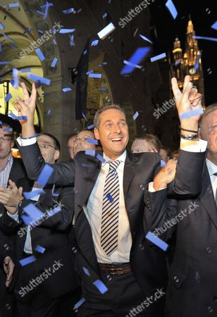 Freedom Party's (fpo) Leading Candidate Heinz Christian Strache Celebrates After the Regional Elections in Vienna Austria on 10 October 2010 Media Reports State That Projections Suggest That the City's Current Leader Michael Haeupl May See His Social Democrats Lose Their Absolute Majority Because of a Surge in Support For the Former Party of the Late Anti-immigration Politician Joerg Haider Austria Vienna