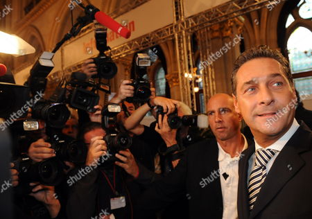 Stock Image of Freedom Party's (fpo) Leading Candidate Heinz Christian Strache in the Election Center in the City Hall in the Regional Elections in Vienna Austria on 10 October 2010 Media Reports State That Projections Suggest That the City's Current Leader Michael Haeupl May See His Social Democrats Lose Their Absolute Majority Because of a Surge in Support For the Former Party of the Late Anti-immigration Politician Joerg Haider Austria Vienna