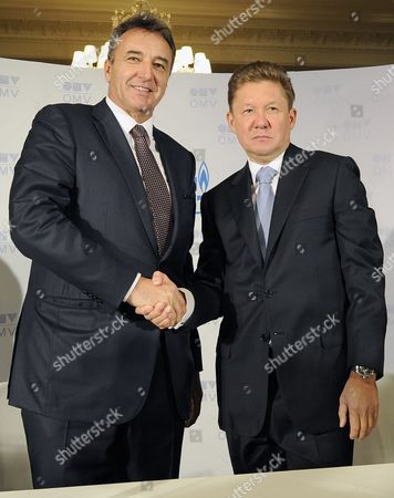 Omv Ceo Gerhard Roiss (l) and Gazprom Ceo Alexei Miller Shake Hands During Their Meeting to Sign the South Stream Gas Pipeline-contract in Vienna Austria 24 June 2014 Austrian Oil and Gas Group Omv Has Signed a Deal with Russian Gas Provider Gazprom on Building the Austrian Stretch of the South Stream Pipeline Which Would Supply Russian Gas Through the Balkans and Southern Europe Directly to Europe Bypassing the Current Transit Route Through Ukraine Austria Vienna