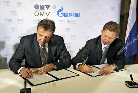 Omv Ceo Gerhard Roiss (l) and Gazprom Ceo Alexei Miller Sign the South Stream Gas Pipeline-contract in Vienna Austria 24 June 2014 Austrian Oil and Gas Group Omv Has Signed a Deal with Russian Gas Provider Gazprom on Building the Austrian Stretch of the South Stream Pipeline Which Would Supply Russian Gas Through the Balkans and Southern Europe Directly to Europe Bypassing the Current Transit Route Through Ukraine Austria Vienna