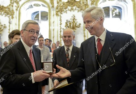 Former Prime Minister of Luxembourg Jean-claude Juncker (l) Receives From Prince Nikolaus of Liechtenstein (r) the 'European Society Coudenhove-kalergi 2014' Prize During a Ceremony in Vienna Austria 07 May 2014 the Coudenhove-kalergi European Prize is Awarded Every Two Years Austria Vienna