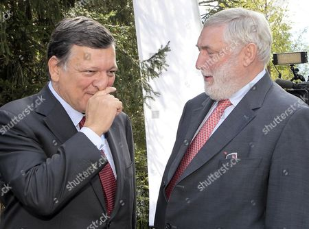 European Commission President Jose Manuel Barroso (l) and the President of the Forum Franz Fischler (r) During the Economic Symposium at the 68th Edition of the European Forum Alpbach in Alpbach Austria 30 August 2012 According to the Organizers Speakers and Participants From All Over the World Dealing with Science Economics and Politics Gather to Discuss Current Issues and to Formulate Interdisciplinary Solutions Austria Alpbach