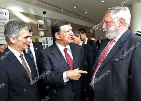 Austrian Chancellor Werner Faymann (l) European Commission President Jose Manuel Barroso (c) and the President of the Forum Franz Fischler (r) During the Economic Symposium at the 68th Edition of the European Forum Alpbach in Alpbach Austria 30 August 2012 According to the Organizers Speakers and Participants From All Over the World Dealing with Science Economics and Politics Gather to Discuss Current Issues and to Formulate Interdisciplinary Solutions Austria Alpbach