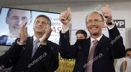 Conservative Austrian Peoples Party (oevp) Candidate For the Eu Elections Othmar Karas (r) Waves Next to Austrian Vice Chancellor Michael Spindelegger (l) at the Oevp Party Headquaters in Vienna Austria 25 May 2014 the European Elections Will Form a New European Parliament Whose 751 Members Will Help Set Laws in the European Union For Five Years to Come Austria Wien