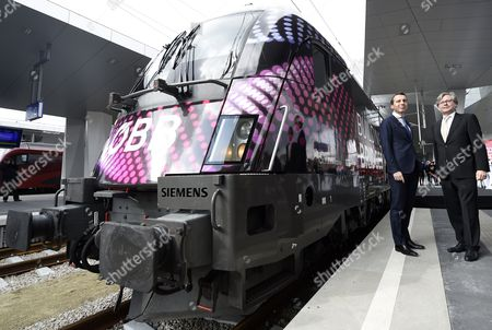 Oebb-boss Christian Kern (l) and Orf-general Director Alexander Wrabetz Present the Eurovision Song Contest Train at the Vienna Central Railway Station in Vienna Austria 06 March 2015 the Final of the 60th Annual Eurovision Song Contest Takes Place in Vienna on 23 May Austria Vienna