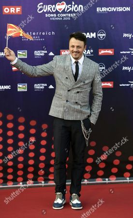 Singer Daniel Kajmakoski Representing Macedonia Poses on the Red Carpet While Arriving For the 'Opening Ceremony of the Eurovision Song Contest Week' at the Rathausplatz Square in Vienna Austria 17 May 2015 the Grand Final of the 60th Annual Eurovision Song Contest (esc) Will Take Place on 23 May Austria Vienna