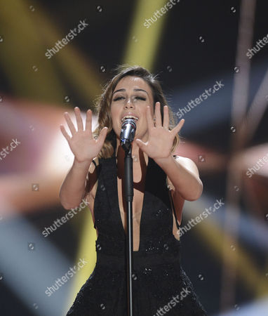 Stock Photo of Elhaida Dani Representing Albania Performs During Rehearsals For the Grand Final of the 60th Annual Eurovision Song Contest (esc) at the Wiener Stadthalle in Vienna Austria 22 May 2015 the Grand Final Takes Place on 23 May Austria Vienna